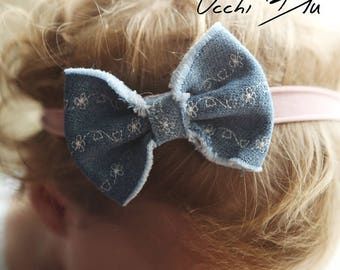Denim Flowers Bow Headband