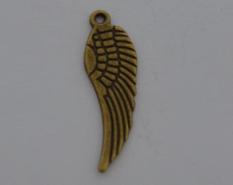10 charms 30x10mm antique brass bird wings