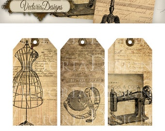 Vintage Sewing Tags shabby printable gift tags printable hobby crafting digital graphics instant download digital collage sheet -VD0442