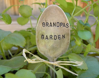 GRANDPAS GARDEN garden pick - hand stamped spoon - plant marker - garden marker for your planter bed - re-purposed spoon art - rustic look