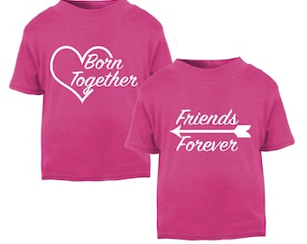 Born Together Friends Forever Twins T-shirt Children Top Kids T-shirts Birthday Gifts Twin Girl Set Twin Girl Gifts