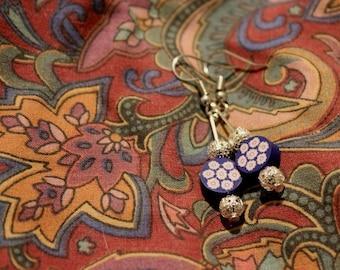 Blue floral dangle earrings jewellery gift