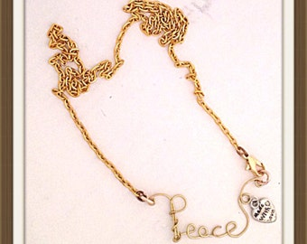 Handmade MWL wire shaped PEACE word necklace. 0332