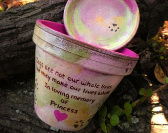 Dog Memorial Gift - Cat Memorial Gift - Painted Flower Pot - Pet Sympathy Gift - Pet Memorial Gift