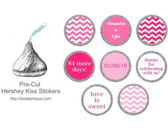 Pink Bridal Shower Favor - Stickers for Candy Kisses - Shades of Pink - Hershey Kiss Labels