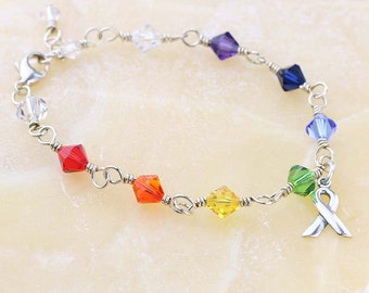 Crystal Rainbow Bracelet, Sterling Silver, Gay Pride Bracelet, Swarovski Crystal Bracelet, LGBT Pride and Awareness Jewelry