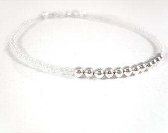Friendship Bracelet: Seed Bead Bracelet, Simple Beaded Bracelet, White Bracelet UK Seller