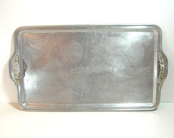 Vintage Aluminum Serving Tray, Huge Tray