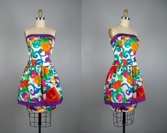 Vintage 1980s Printed Floral Taffeta Dress 80s Funky Bright Floral Print Strapless Mini Dress by A.J. Bari Size M