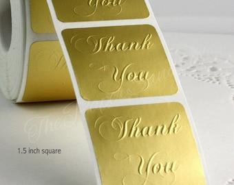 "1.5"" Square Matte Gold Thank You Seals/Stickerss"