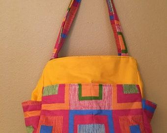 Katrina#1850, Bright Checkered Knitting Bag, Bright Project Tote, Knitting Project Bag, Large Project Bag, Knit and Crochet, Crochet Totes