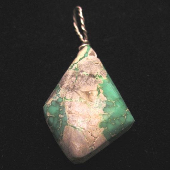 "Variscite, Utahite, pendant, green white, ""Diamonds are Forever"", silver wire 40ct"
