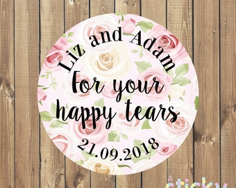Personalized For Your Happy Tears Stickers, Wedding Stickers, Wedding Labels, Wedding Tags, Tears of Joy Tissues, Wedding Tissues, Stickers