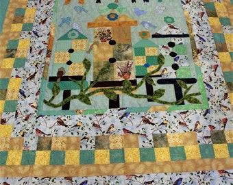 Birds, birdhouses, quilts, patchwork, handmade, custom, king size, queen size, full size, twin size, blue, gold, heirloom, appliqued quilt