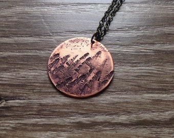 Forest for the Trees Copper Plated Pendant Necklace