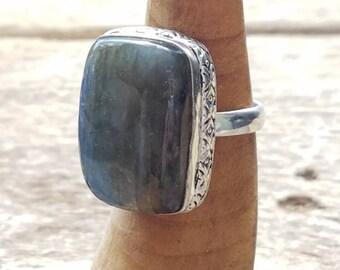 Laboradite ring 925 silver size 7.5