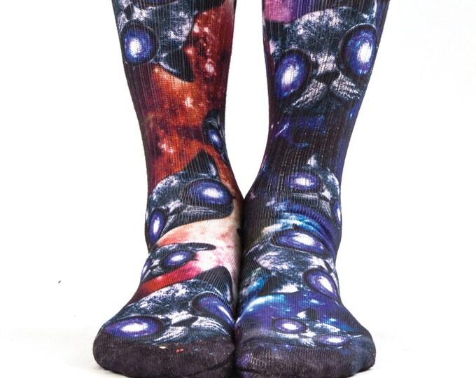 Samson® Hypno Cats Hand Printed Socks Sublimation Glasses Cosmos Galaxy Solar Stars Quality Print UK