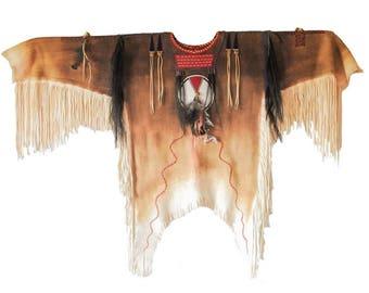 Authentic Native american beaded deerskin Blackfoot old style war shirt