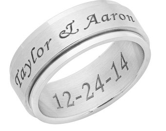 Personalized 8mm Stainless Steel Silver Color Spinner Ring