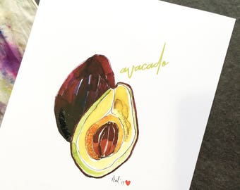 """Avacado - 8 x 10"""" Art Print - Be Full of Fruit Collection"""