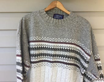 Vintage Men's Sweater,Americana by Liberty,Mens Pullover Sweater, Size Large Sweater