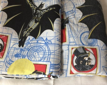 Batman sheet set, fitted and flat sheet, twin sizes, vintage 90s, Batman Returns,  Batman, Catwoman, penguin, batmobile, preowned, good cond