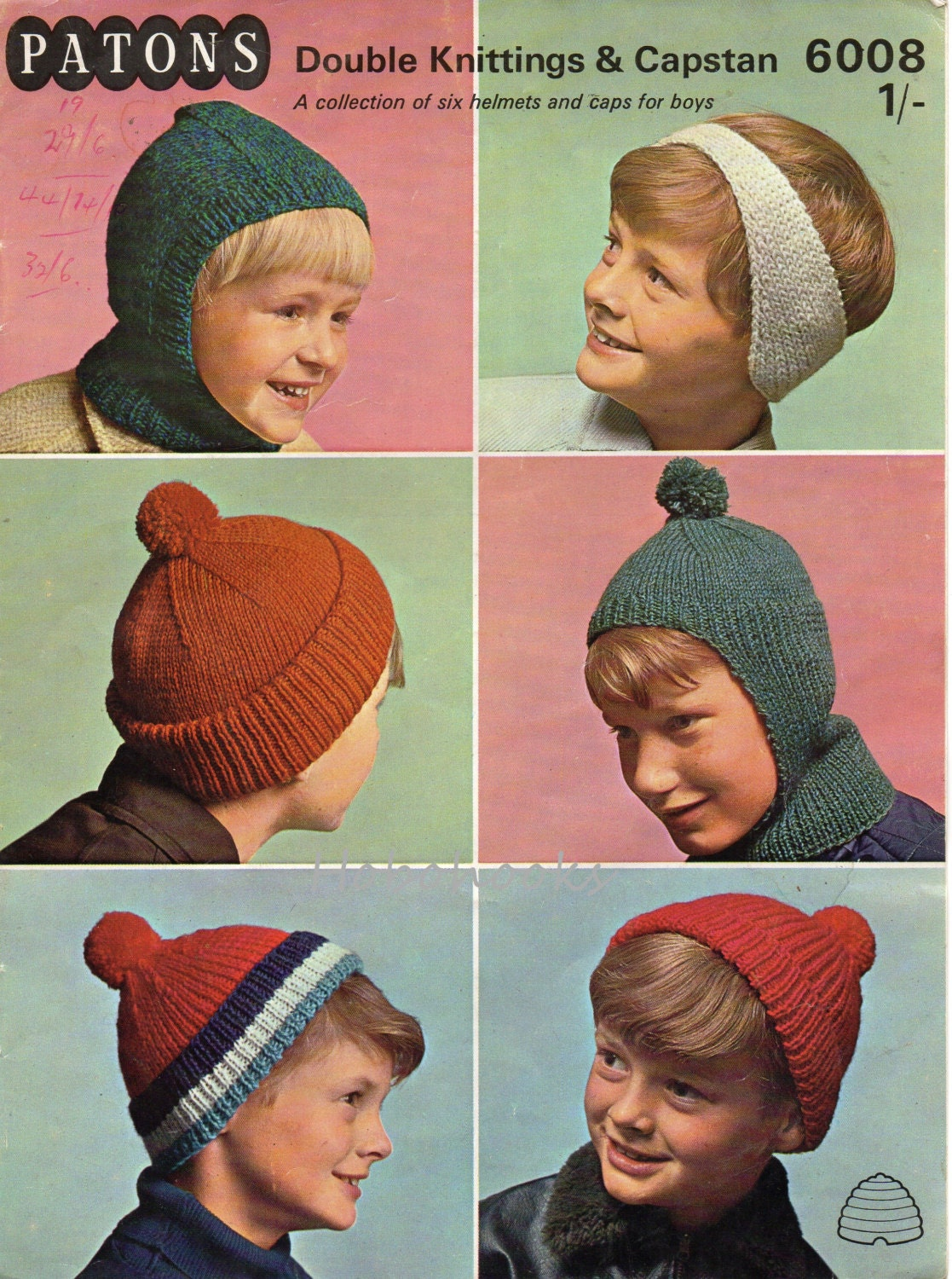 vintage childrens hats knitting pattern pdf caps bobble hat headband ...