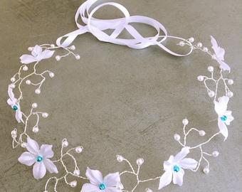 Accessoire de cheveux Mariage / Headband fleuri/ Vigne de cheveux