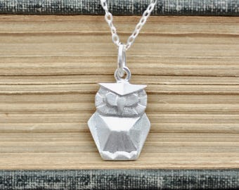 Sterling Silver Origami OWL Necklace Origami Animal Jewelry - photo#41