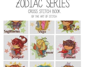 Zodiac Cross Stitch Kit, Astrology Cross Stitch Kit Set, Zodiac Series, Horoscope Cross Stitch, Set of 12 Kits (BOOK01)