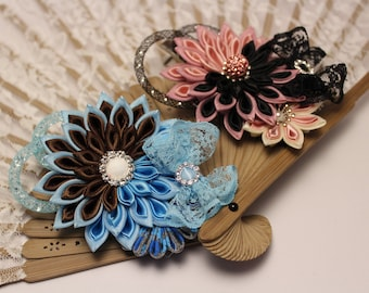 Handmade Kanzashi flower Hair clip women's or girls ' Aligators with small loop light blue and brown