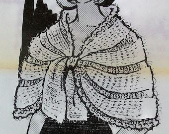 Vintage Crocheted Cape - Shawl PDF Pattern - Design 624