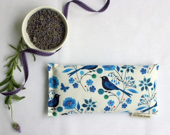 Mother's Day Eye Pillow, Lavender and Flax Seed Eye Pillow - Moody Blues Birds Scented Gift Relaxation Yoga Meditation