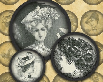 "Victorian Women #2 Steampunk Fashion-- 1"" rounds digital collage sheet--Instant Download"
