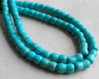 Turquoise Magnesite Beads Hourglass Shape For Beaded Jewelry Making Metaphysical Healing Stone