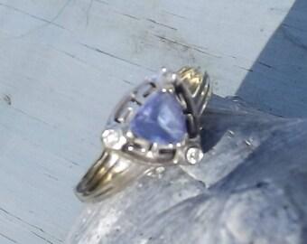 14k White Gold Unique Greek Key Border Triangle Shape Tanzanite Ring with Diamond Accents