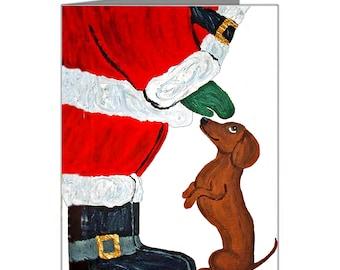 Dachshund Christmas Cards/Dachshund And Santa/Christmas/Christmas Cards/(Pack of 10 Note Cards & Envelopes) Squirreldumplings/Doxie Cards