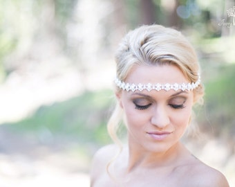 Wedding Headband with Pearls - Silver - Pearl Headband - Tie Back