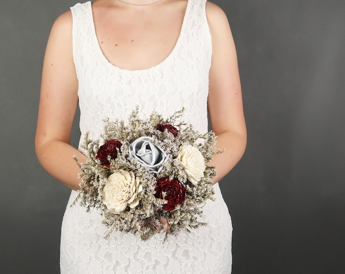 Small burgundy ivory silver rustic wedding BOUQUET sola Flowers, dried limonium, Burlap and lace, Bridesmaid's bouquet, vintage fall toss
