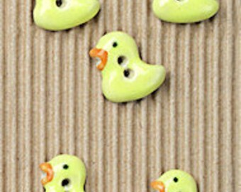 5 Baby Chick Buttons, Handmade, Fully Washable, Incomparable Buttons, ButtonMad, L164