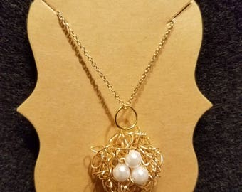 White Pearl Bird's Nest Charm Necklace