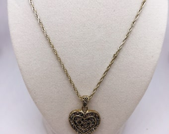 "Sterling Silver Marcasite Heart Necklace with 18"" chain"