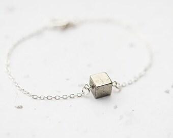 Pyrite Cube Bracelet Modern Minimalist jewelry minimal chic neutral silver gray