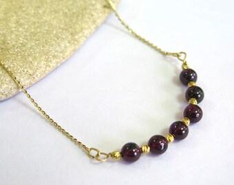 14K Gold Garnet Necklace - Garnet Necklace - Dainty Necklace - Gemstone Necklace - Beaded Necklace - Gold Necklace - January Birthstone