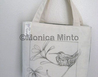 Original pen ink drawing on SMALL fabric tote bag, gift bag, teacher gift bag, hummingbird on nest, Monica Minto