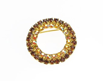 Topaz Brown and AB Iridescent Crystal Rhinestones Vintage Brooch Pin