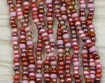 6/0 Vintage Rose Mega Mix Czech Seed Beads - loose, 70grams