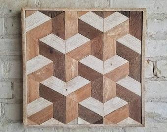 Reclaimed Wood Wall Art, Decor, Lath, Geometric Pattern, Tessellation, Small