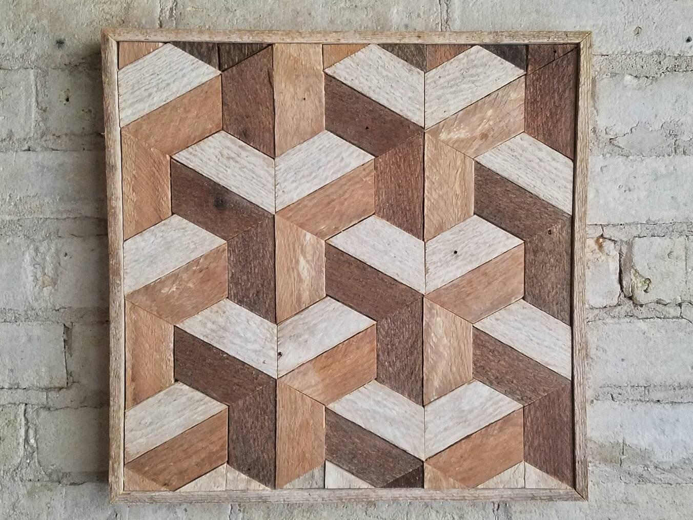 Reclaimed Wood Wall Art Part - 47: Reclaimed Wood Wall Art, Decor, Lath, Geometric Pattern, Tessellation, Small