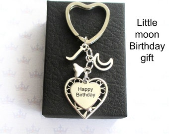 Happy Birthday keyring - Personalised crecsent moon keychain - Moon keyring for friend - Happy Birthday keychain - Birthday gift for her